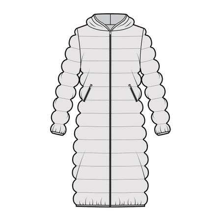Hooded quilted shell down coat jacket puffer technical fashion illustration with long sleeve, knee length, oversized. Flat template front, grey color style. Women, men, unisex top CAD mockup Ilustración de vector