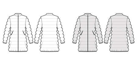 Down puffer coat jacket technical fashion illustration with long sleeves, stand collar, pockets, oversized, classic quilting. Flat template front, back, white, grey color. Women, men, unisex top CAD