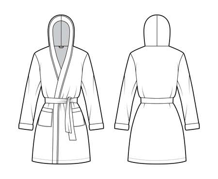 Hooded Bathrobe Dressing gown technical fashion illustration with wrap opening, mini length, oversized, tie, pocket, long sleeves. Flat garment front, back, white color. Women, men, unisex CAD mockup Vecteurs