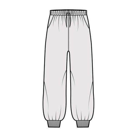 Shorts Sweatpants technical fashion illustration with elastic cuffs, low waist, rise, drawstrings, midi ankle length. Flat training trousers template front, grey color. Women men unisex CAD mockup