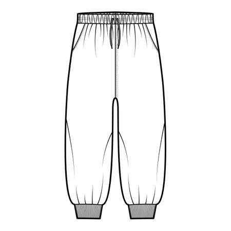 Shorts Sweatpants technical fashion illustration with elastic cuffs, low waist, rise, drawstrings, calf length. Flat training trousers apparel template front, white color. Women men unisex CAD mockup