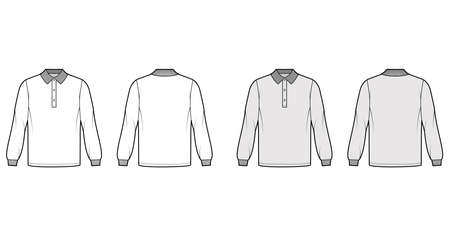 Shirt polo oversized technical fashion illustration with long sleeves, henley button neck, flat knit collar. Apparel top outwear template front, back, white, grey color style. Women men CAD mockup