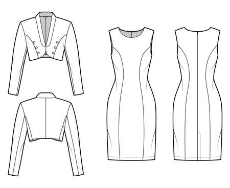 Set of bolero Suit - classic sheath dress, crop jacket technical fashion illustration with two - pieces, single breasted. Flat apparel template front, back, white color. Women, men, unisex CAD mockup Vector Illustration