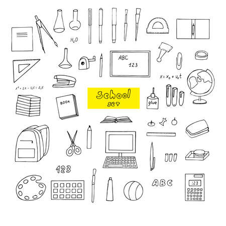 Set of school supplies, vector illustration, stationery, computer, textbooks, drawing supplies, chemical flasks, globe, ball, backpack, lunchbox, calculator, formulas, hand drawing