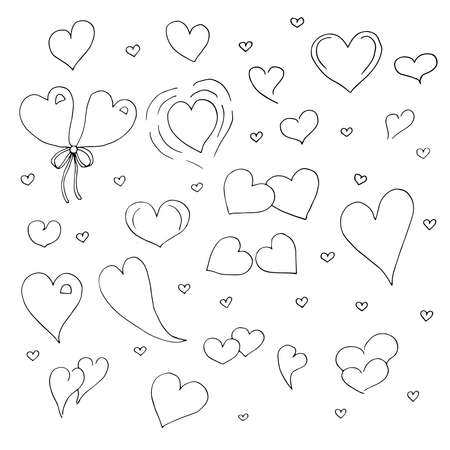 Set of hearts in Doodle style vector illustration hand drawing