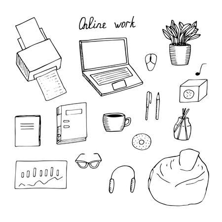 Set of elements work online vector laptop printer mouse potted flower notebook folder coffee cup pen pencil music speaker donut incense sticks graph glasses headphones and soft chair