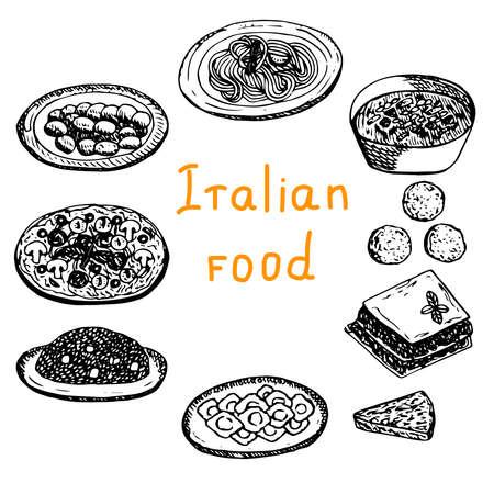 Set of Italian food vector illustration gnocchi pasta minestrone arancini lasagna frittata pizza risotto ravioli sketch