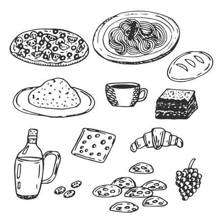 Set of Italian cuisine vector illustration pizza pasta risotto coffee tiramisu bread olive oil olives cheese croissant biscotti grapes hand drawing Фото со стока - 156932392