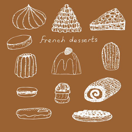 Set of French desserts vector illustration meringue croquembouche grillage calisson blancmange Madeleine cookies macaroon profiterole Christmas log eclair tarte Tatin brown and white Ilustração