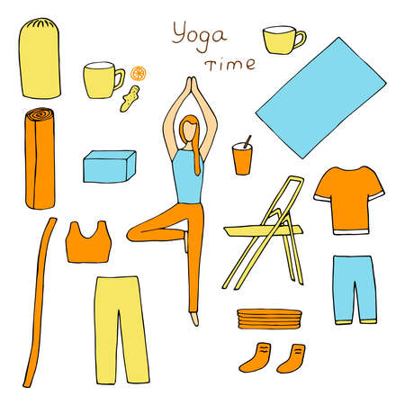 Set of yoga time cliparts vector illustration girl in tree asana sportswear yoga supplies healthy drinks orange, yellow and blue color hand drawing
