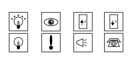 Set of vector icons with prompts to turn on, off, enter, exit, watch, attention, sound, call