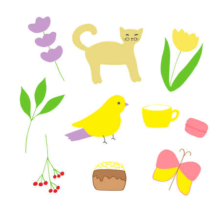 A set of cute doodles vector illustration sprig of lavender the cat tulip branch with berries cup cake macaron leafy branch bird and butterfly hand drawing colored