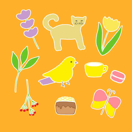 A set of cute doodle stickers vector illustration sprig of lavender the cat tulip branch with berries cup cake macaron leafy branch bird and butterfly hand drawing colored
