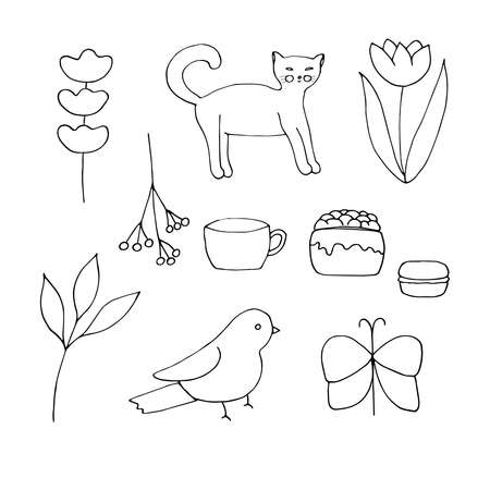A set of cute doodles vector illustration sprig of lavender the cat tulip branch with berries cup cake macaron leafy branch bird and butterfly hand drawing