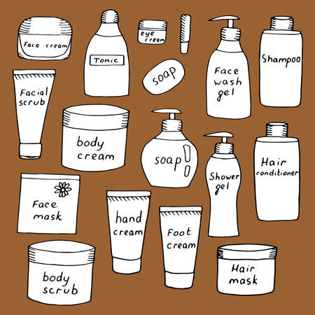Set of jars with care cosmetics creams and scrubs for face body hands and feet shampoo and hair balm vector illustration sketch white color