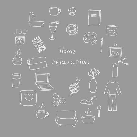 Set of hand-drawn doodle home relaxation icons vector illustration gray background