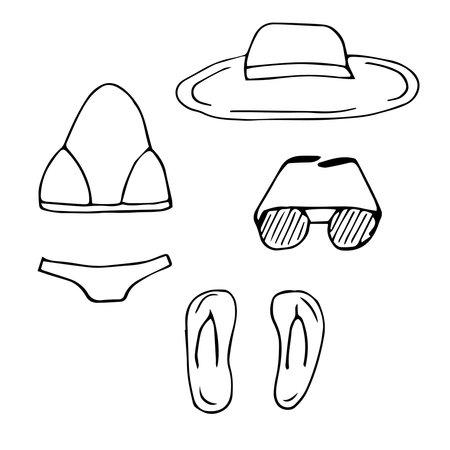 Beachwear set vector doodle illustration swimsuit hat flip flops and sunglasses