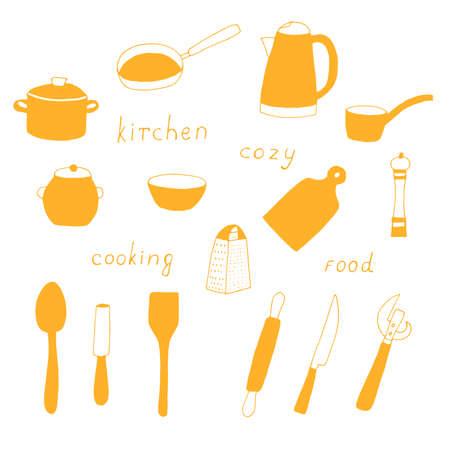 Set of kitchen utensils for cooking vector doodle illustration orange color Vecteurs