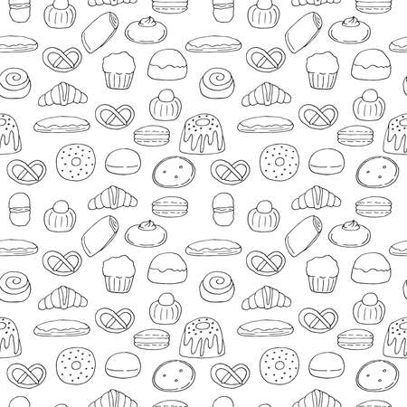 Seamless pattern of pastries buns and desserts vector doodle illustration hand drawing