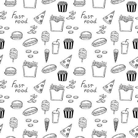 Fast food seamless pattern vector illustration hand drawn doodle