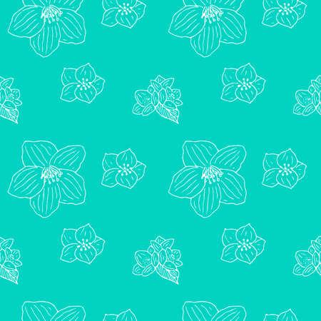 Jasmine seamless pattern vector illustration hand drawn sketch blue color 矢量图像