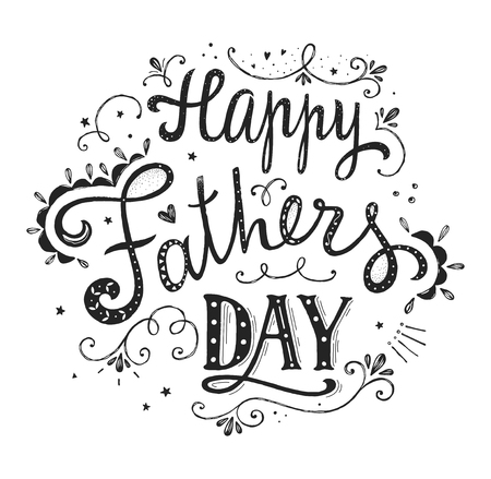 Projekt dzień szczęśliwy ojców. cytat z liter. vintage print z napisem. Może być używany jako kartka z życzeniami lub jako plakat. ilustracja. Ilustracje wektorowe