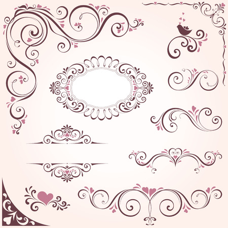 victorian frame: Valentines swirl ornate motifs and frames. Elements can be ungrouped for editing.