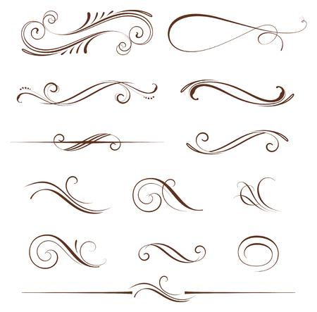 ensemble d'éléments vintage calligraphiques ornés et de pages décorations. Utilisez des invitations, cartes de voeux, des affiches, des pancartes, des badges Vecteurs