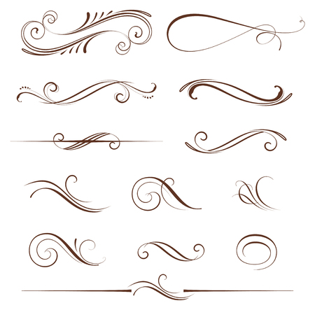 dividing: set of ornate calligraphic vintage elements and page decorations. Use for invitations, greeting cards, posters, placards, badges