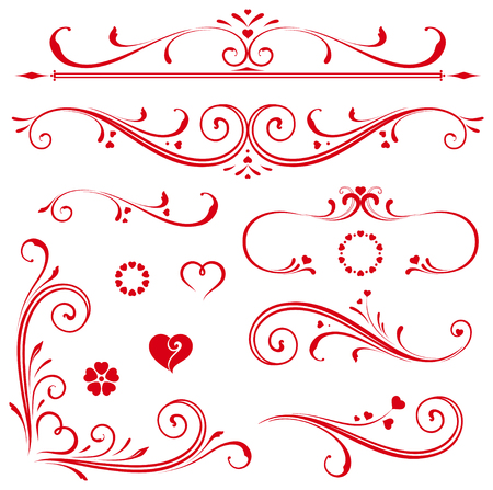 conjunto de elementos de la vendimia caligráfica ornamentados y decoraciones de página. Para invitaciones, tarjetas de felicitación, carteles, pancartas, insignias