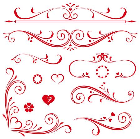 Set van sierlijke kalligrafische vintage en pagina decoraties. Het gebruik voor uitnodigingen, wenskaarten, posters, borden, badges Stockfoto - 57884284