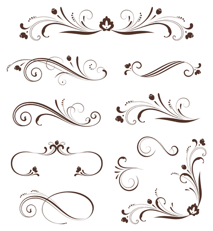 set of ornate calligraphic vintage elements and page decorations. Use for invitations, greeting cards, posters, placards, badges