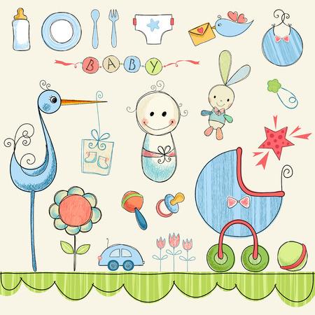 Ein Satz nette Einzelteile für neugeborenes Baby. Vektorgrafik