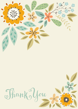 vertical floral thank you card template. Ilustracja