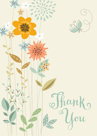 vertical floral thank you card with butterfly.