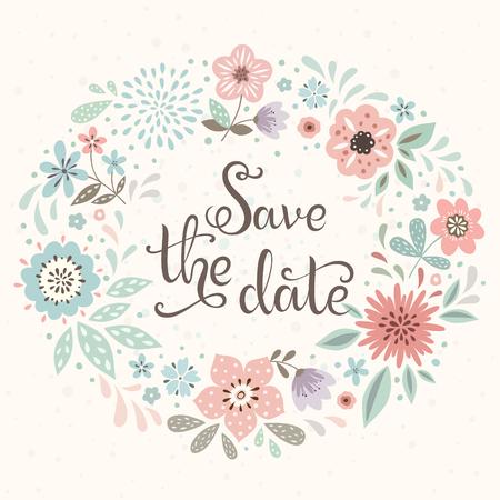 Sparen de datum kaart met bloem krans. Ook goed voor wenskaarten, verjaardag uitnodigingen, affiches en vele anderen bloemmotieven.