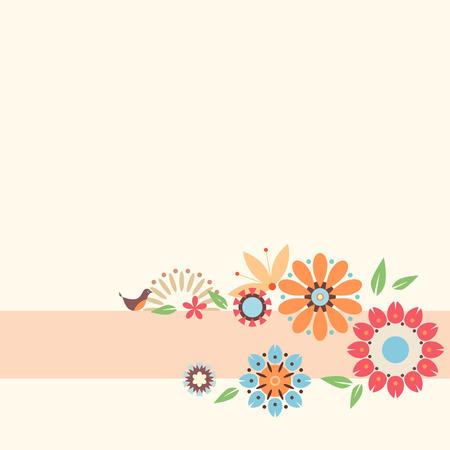 papeleria: Tarjeta floral con flores decorativas y aves. Plantilla para la reservación del desecho, bloc de notas, el embalaje, el diario y tarjetas imprimibles del partido de los niños.