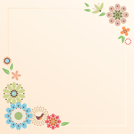 notepads: Floral card with decorative flowers and bird. Template for scrap booking, notebook, wrapping, diary and childrens party printable cards.