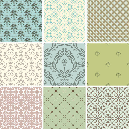 romantic: A set of seamless patterns. Good for wrapping paper and fabric design. Illustration
