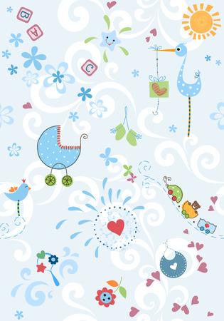 Un ensemble de modèles sans couture. Bon pour le papier et la conception de tissus, de baby shower, anniversaire, cartes de voeux, la fête des mères et album d'emballage. Vecteurs