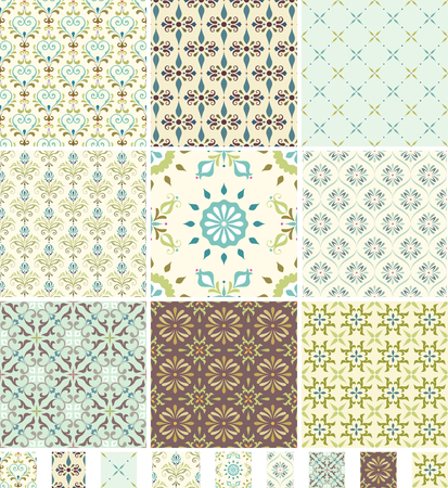printed: A set of seamless patterns. Good for wrapping paper and fabric design. Illustration