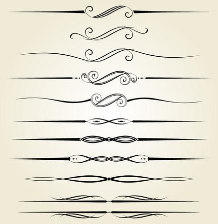 grecas: Vector conjunto de elementos ornamentales de la vendimia caligráfica, separadores y decoraciones de página.