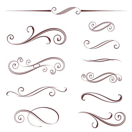 華やかなカリグラフィ ヴィンテージの要素、ディバイダーおよびページ装飾のベクトルを設定。