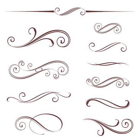 Vector set of ornate calligraphic vintage elements, dividers and page decorations. Ilustracja