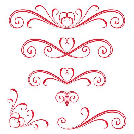 Vectorized Scroll Design con il disegno del cuore. Archivio Fotografico - 60000682