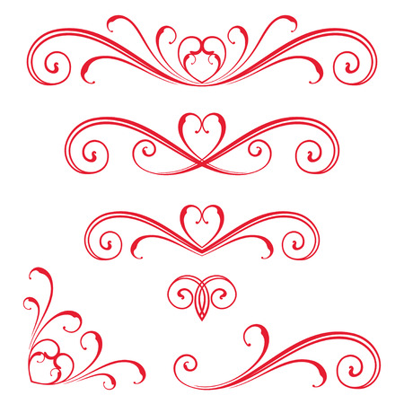 Vectorized Scroll Design with Heart Design. Stock fotó - 60000682
