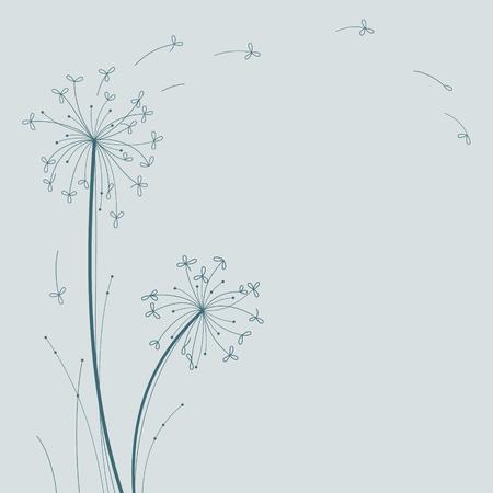 Dandelion floral design. The wind inflates a dandelion.