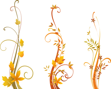 vertical divider: Autumn scroll design. As well in horizontal.