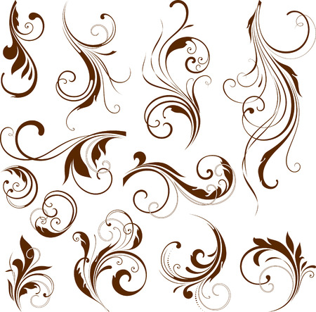 Vector set of ornate calligraphic vintage elements and page decorations. Ilustracja
