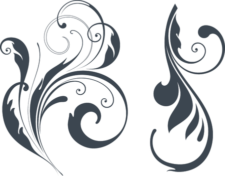 fleuron: Vectorized Scroll Design. Elements can be ungrouped for easy editing. Illustration